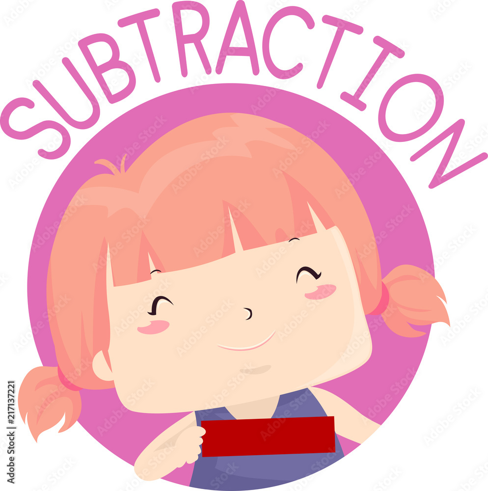 Fotografija, Poster Kid Girl Hold Subtraction Sign