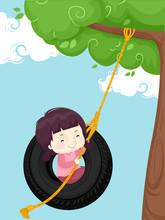 Kid Girl Tire Swing Tree Illustration