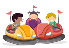 Stickman Kids Bump Car Illustr...