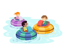Stickman Kids Bumper Boat Illustration
