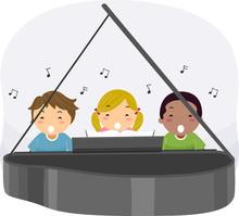 Stickman Kids Piano Sing Illustration