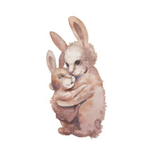 Watercolor Bunny Illustration. Hand Painted Rabbit Family Isolated On White Background. Cartoon Mom And Baby Rabbit Hug