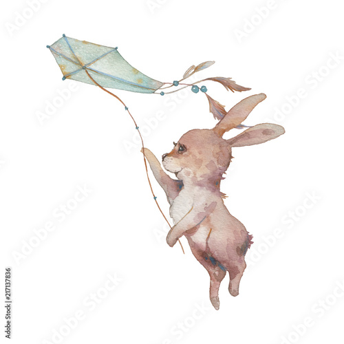 Fototapeta premium Watercolor bunny with kite illustration. Hand painted rabbit fly. Cute animal isolated on white background. Cartoon hare in boho chic style