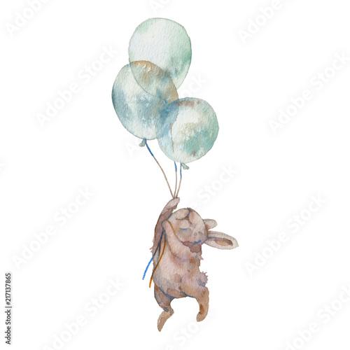 Watercolor bunny with air balloons illustration Fototapeta