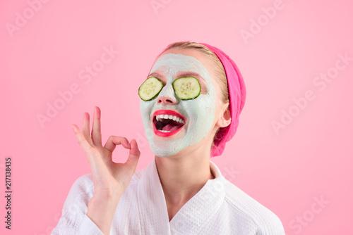 Fotografie, Obraz Close-up portrait of beautiful woman with facial mask
