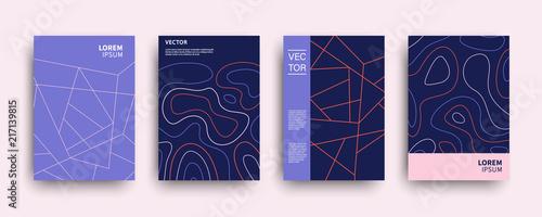 Fototapeta Modern abstract topography geometric covers set obraz
