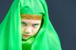 Leinwanddruck Bild - Beautiful girl in green hijab for oriental dances