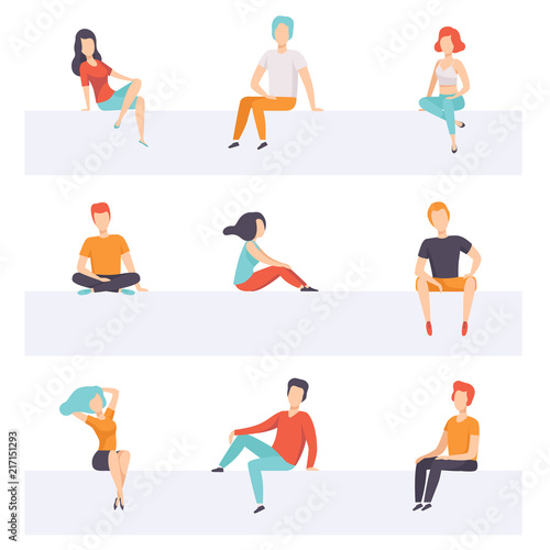 Diverse people sitting on different positions set, young faceless guys and girls in casual clothes sitting down vector Illustrations on a white background Wall mural
