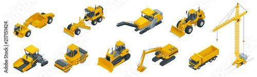 Fotografia Isometric icons set of construction equipment and machinery with trucks crane and bulldozer
