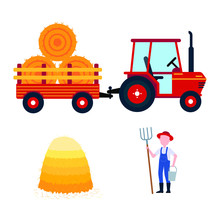 Red Harvesting Tractor With Semi-trailer And Hay Bale Icon Sign, Haystack, Hay Sheaf And Farmer With Hayfork And Bucket Set Isolated On White Background Flat Design Style Vector Illustration