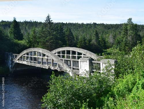 Fotomural  landscape along the Irish Loop; old deteriorated bridge  across the Salmonier Ri
