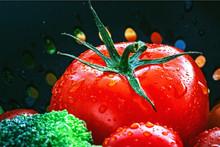 Tomaten, Frisch Gewaschen In Einem Sieb