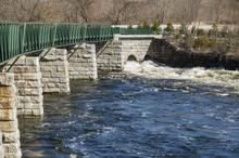 Turbulent Water Along Blackstone River Greenway
