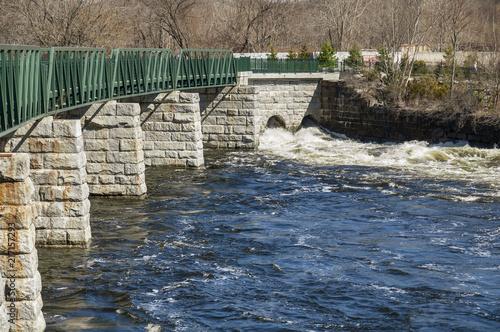 Keuken foto achterwand Verenigde Staten Turbulent water along Blackstone River Greenway