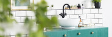 Real Photo With Blurred Foreground Of White Bathroom Interior With Tiles, Fresh Plants And Sink On Green Cabinet