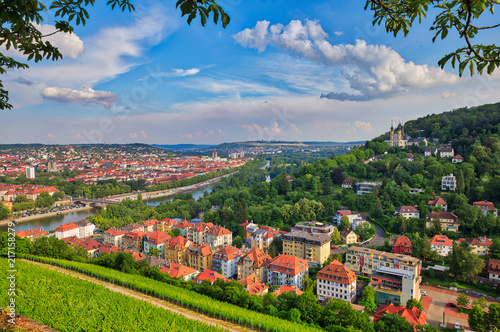 Fototapeta Aerial view of Wuerzburg cityscape from Marienberg Fortress obraz na płótnie