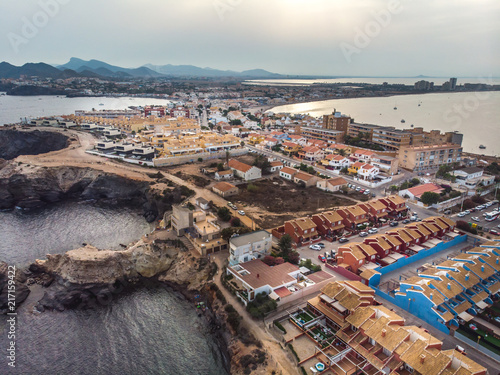 In de dag Ochtendgloren Cabo de Palos, cape in the Spanish municipality of Cartagena, in the region of Murcia. Small spanish village, drone arial panoramic photo. Summer 2018 from drone