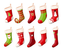 Christmas Stockings Or Socks Isolated Vector Set