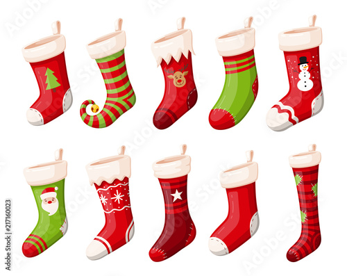 Valokuva Christmas stockings or socks isolated vector set