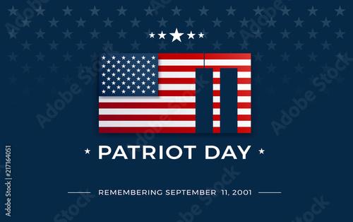 Fotografia  Patriot Day background with USA flag, September 11, 2001 - patriot day 9/11 vect