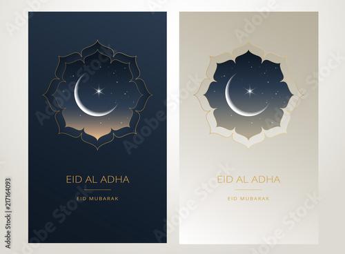 Obraz Eid Al Adha Mubarak gold greeting card vector design - islamic beautiful background with moon and golden text - Eid Al Adha, Eid Mubarak. Islamic illustration for muslim community - fototapety do salonu