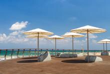 Beach Umbrellas, Promenade In Tel Aviv, Israel