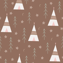 Seamless Pattern Of Native American Tents, Fir Trees And Stars.