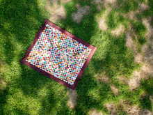 Multi-color Quilt Flat On The Grass Drone Photography Top View!
