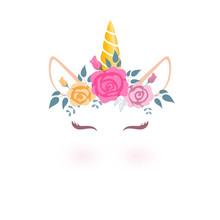 Cute Unicorn Head With Flower Crown.