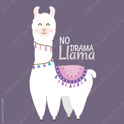 Photo Cute Llama design with no drama llama motivational quote.