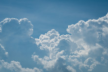 Closeup White Cumulus Cloud With Blue Sky For Nature Background
