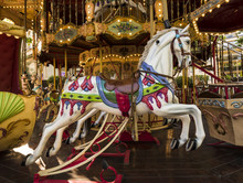 Colorful Horse In A Carousel In Avignon. Vaucluse, Provence, France, Europe.