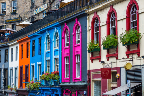 Photo Colorful houses in Edinburgh, Scotland, UK