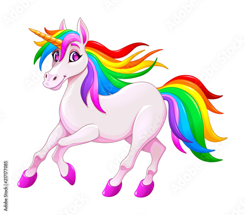 Spoed Foto op Canvas Kinderkamer Cute rainbow unicorn