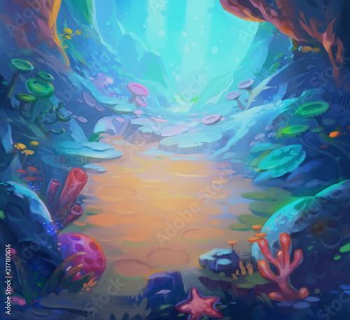 Underwater Game Background Cartoon Style For Animation Concept - 217180616