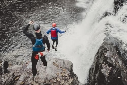 Stampa su Tela cliff jumping coasteering wales river