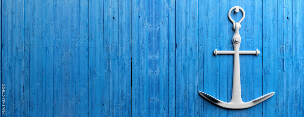 Fototapety, obrazy: White ship anchor hanging on  blue wooden wall background, banner, copy space. 3d illustration
