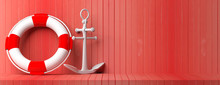 Ship Anchor And Lifebuoy On Re...