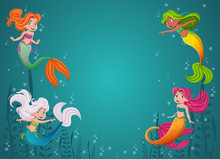 Cartoon Mermaid Princess With ...