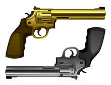 Revolver Gold And Silver On A White Background