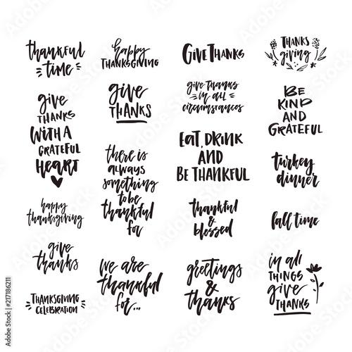 Autocollant pour porte Positive Typography Thanksgiving Lettering Collection
