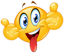 Thumbs Up Emoticon With Tongue Out