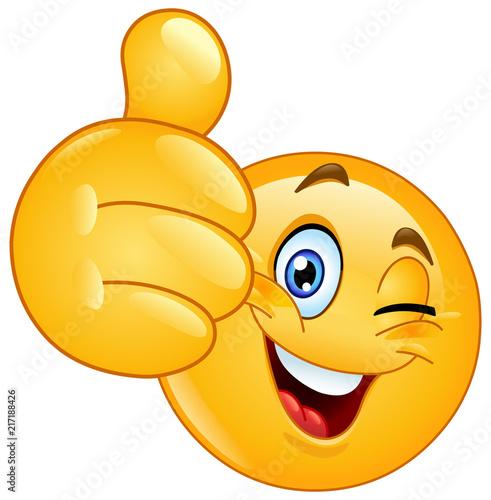 Thumb up winking emoticon #217188426