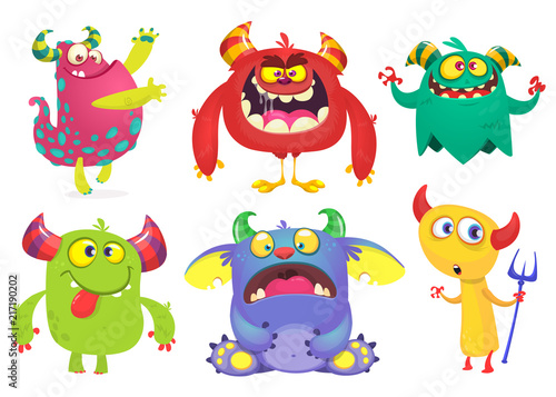 Poster Creatures Cartoon Monsters collection. Vector set of cartoon monsters isolated. Ghost, troll, gremlin, goblin, devil and monster