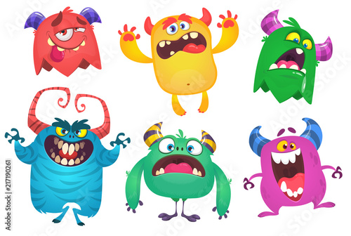 Cartoon Monsters. Vector set of cartoon monsters isolated. Design for print, party decoration, t-shirt, illustration, emblem or sticker