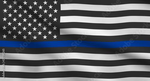 Valokuva  Thin Blue Line Flag