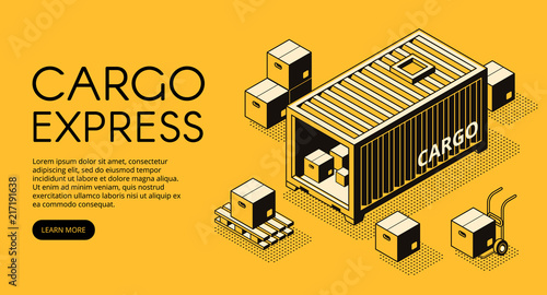 Fotografia Cargo container logistics vector illustration of warehouse with parcel boxes unload on pallet for express delivery or freight shipping