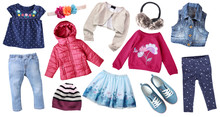 Fashion Child's Clothes Set Isolated.Girl's Clothing Collage.