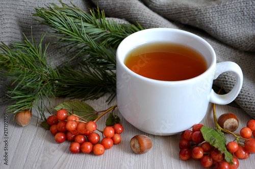 Staande foto Thee A Cup of hot tea, berry, fir branch, wool blanket on the table. Autumn or winter warming drink. Autumn concept