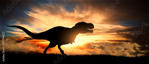 Silhouette of a tyrannosaurus rex at sunset Wallpaper Mural
